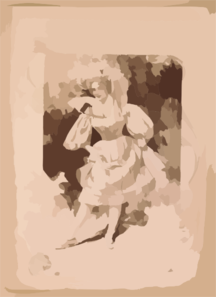 [woman Wearing Large Hat And Short Skirted Dress, Holding Up Skirt Revealing Petticoat] Clip Art