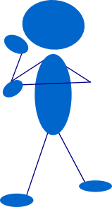 Thinking Blue Stick Man Clip Art