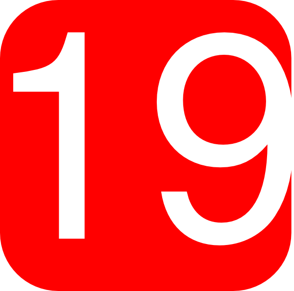 Number Nineteen Red, Rounded, Square W...