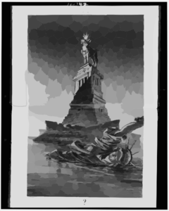 [statue Of Liberty Floating In Bay And Statue Of Cow, Wearing Crown And Collar With $ Sign, Standing On Liberty S Pedestal]  / Keppler. Clip Art