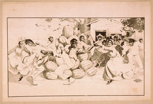 [african Americans Dancing Around A Pile Of Watermelons] Image
