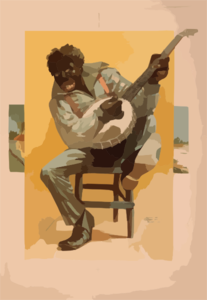 [african American, Seated, Playing Banjo] Clip Art