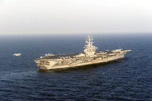 Uss Nimitz (cvn 68) And Carrier Air Wing Eleven (cvw-11) Carry Out Flight Operations In Support Of Operation Iraqi Freedom. Image