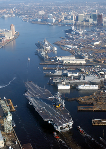 The Nuclear Powered Aircraft Carrier Uss Harry S. Truman (cvn 75) Transits The Elizabeth River Following Completion Of A Six-month Planned Incremental Availability (pia) At Norfolk Naval Shipyard. Image