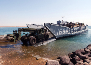 Lcu Off-loads Equipment During Exercise. Image