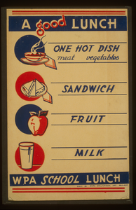 A Good Lunch - One Hot Dish, Meat, Vegetables - Sandwich - Fruit - Milk Wpa School Lunch. Image