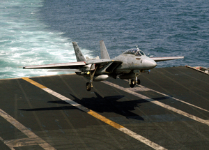 An F-14 Tomcat Assigned To The Checkmates Of Fighter Squadron Two One One (vf-211) Prepares To Land On The Flight Deck Aboard Uss Enterprise (cvn 65). Image