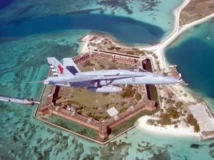 F-18c Over Fort Jefferson National Monument Image