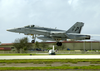An F/a-18  Hornet  From The  Royal Maces  Of Strike Fighter Squadron Two Seven (vfa 27), Launches From An Airstrip Located At Andersen Afb In Guam Image