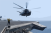 An Mh-53e Sea Dragon Helicopter Leave The Flight Deck Aboard Cv 67. Clip Art