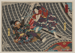 Two Men Fighting With Swords On The Roof Of A Tower Image