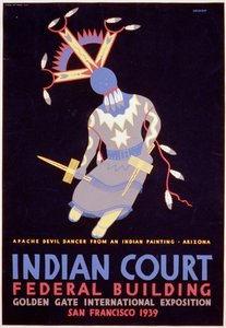 Indian Court, Federal Building, Golden Gate International Exposition, San Francisco, 1939 Apache Devil Dancer From An Indian Painting, Arizona / Siegriest. Image
