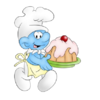 Baby Smurf Carrying Cake Image