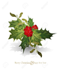 Christmas Bells And Holly Clipart Image