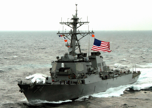 The Guided Missile Destroyer Uss Mcfaul (ddg 74) Is Shown Underway. Image
