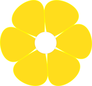 Yellow Flower With White Middle Clip Art