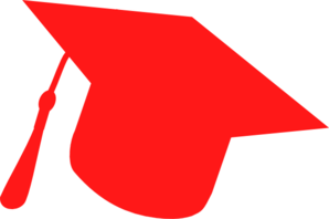 Graduation Hat Silhouette Red Clip Art