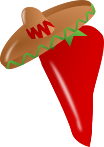 Red Chili Pepper Wearing A Sombrero Clip Art