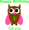 Pink Owl Olivia Birthday Clip Art