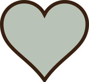 Heart, Green, Brown Clip Art