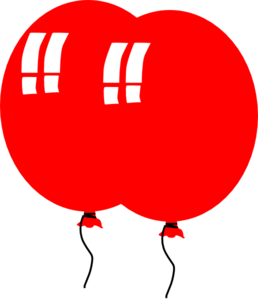 2 Red Balloons Clip Art