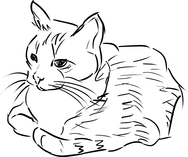 Line Drawing Kitty : Cat linedrawing clip art at clker vector