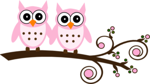 Twin Pink Owls On Branch Clip Art