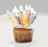 Blurred Birthday Cupcake Candles Clip Art