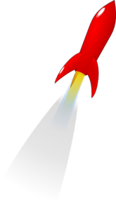 Launching Red Rocket Clip Art