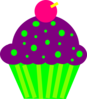 Cupcake Purple And Lime Clip Art