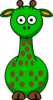 Green Giraffe With 19 Dots Clip Art