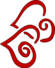 Red Swirly Hearts (vertical) Clip Art