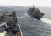 Uss Iwo Jima (lhd 7) Pulls Alongside The Military Sealift Command (msc) Combat Stores Ship Usns Concord (t-afs 5) Clip Art