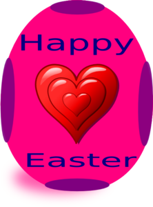 Happy Easter With Heart Clip Art