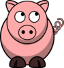 Pig Looking Up Left Clip Art