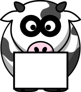 Cow With Box 2 Clip Art
