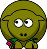 Sheep Olive Green Two Toned Looking Up To Left Clip Art