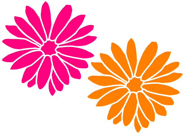 Orange and pink flowers clip art at clker vector clip art download this image as mightylinksfo