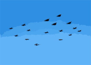 Aircraft Assigned To Carrier Air Wing Eight (cvw-8) Fly In Formation As They Pass Over The Aircraft Carrier Uss Roosevelt (cvn 71) Clip Art