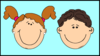 Smiling Kids In Window 2 Clip Art