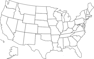 United States Map With States B&w Clip Art