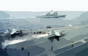 The Uss Phillipine Sea (cg 58) Steams Off The Port Side Of The Uss Enterprise, While An F/a-18c  Hornet  Launches From The Flight Deck. Clip Art