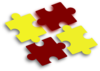 Red & Gold Puzzle Pieces Clip Art