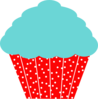 Cherry Red And Aqua Cupcake Clip Art