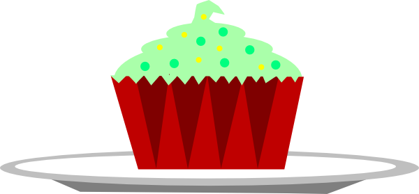 christmas cupcake with sprinkles on a plate clip art at