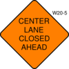 Center Lane Closed Ahead Clip Art