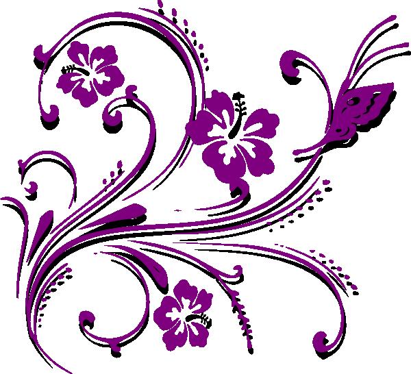 butterfly scroll purple clip art at clker com