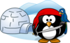 Penguin Pirate With Igloo Clip Art