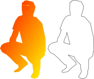 Orange Man Silohouette Squatting Clip Art