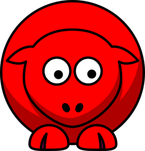 Sheep Red Looking Down To Right Clip Art